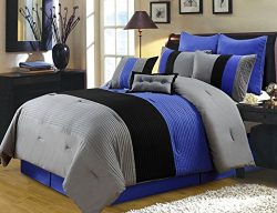 Chezmoi Collection 8 Pieces Luxury Striped Comforter Set (California King, Gray/Black/Blue)