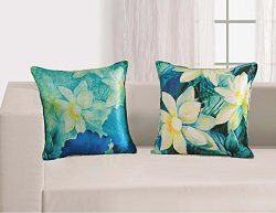 Set of 2 Cushion & Throw Faux Silk Pillow Covers with Digital Floral Print – Blue Gree ...