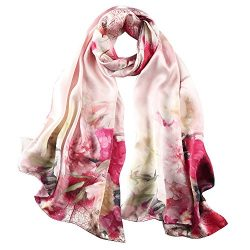 STORY OF SHANGHAI Women's 100% Silk Scarf Luxury Satin Graphic Painted Shawl Wraps DY10