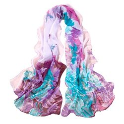 ChikaMika Lightweight Scarves for Women Floral Wrap Shawls Fashion Chiffon Scarves