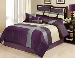 8 Piece Dorsey Multicolor Patchwork Comforter Set (King, Purple)