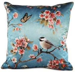 ChezMax Faux Silk Blend One Bird and Butterfly Print Sofa Seat Cushion Cover Cotton Pillowslip S ...