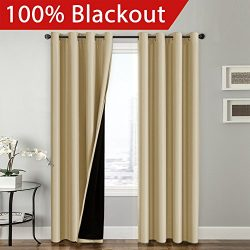 FlamingoP Full Blackout Wheat Curtains Faux Silk Satin with Black Liner Thermal Insulated Window ...