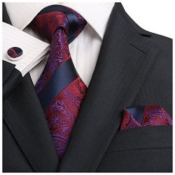 Landisun Paisley Mens SILK Tie Set: Necktie+Hanky+Cufflinks 18E13 Navy Blue Burgundy, 3.25″ ...