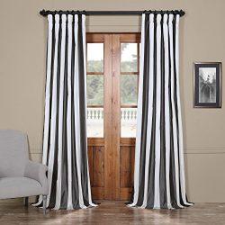 Half Price Drapes PTSCH-11089-96 Faux Silk Taffeta Stripe Curtain, Presidio