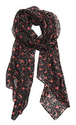 Z&HTrends Womens Genuine Silk Scarf (small, Night Poppy Graden)