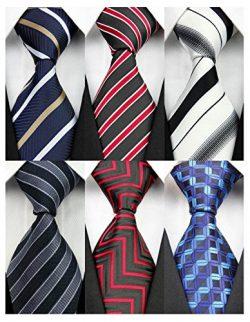 YanLen Pack of 6 Classic Men's Silk Polyester Tie Necktie Woven JACQUARD Neck Ties (Set 2)