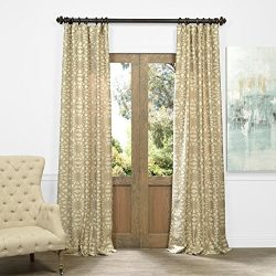 Half Price Drapes JQCH-AR108213-96 Faux Silk Jacquard Curtain, Trace Natural, 50″ x 96″