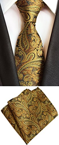 MOHSLEE Mens Gold Paisley 100% Silk Tie Necktie & Handkerchief Pocket Square Set