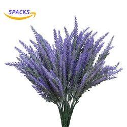YSBER 5 pcs Artificial Flocked Lavender Bouquet Fake Flowers Bunch Bridal Home DIY Floor Garden  ...