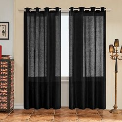 Subrtex 2 Panels Faux Silk Semi-Sheer Window Elegance Curtains/drape/panels/treatment and Solid  ...