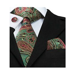 Barry.Wang Green Ties for Men Paisley Tie Hanky Cufflinks Set