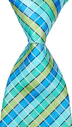 NEW EXT Collectino 100% Silk Necktie Classic Men's Checks Tie (Turquoise)