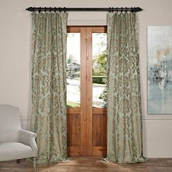 Half Price Drapes JQCH-2012616-120 Astoria Faux Silk Jacquard Curtain,Jade & Taupe,50 X 120