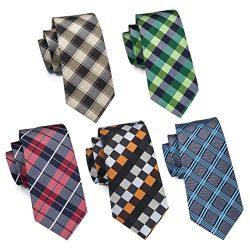 Hi-Tie 5PCS Tartan Woven Tie for Men Set Silk