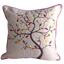 Queenie® -1 Pc Lovely Embroidery Faux Silk Decorative Throw Pillow Case Pillowcase Cushion Cover ...