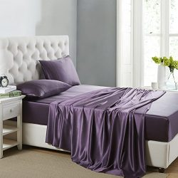 OOSilk 4 Pieces 100% Mulberry Charmeuse Silk Bed Sheet Set Seamless Deep Pocket (King, Purple)
