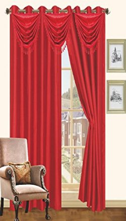 Red Faux Silk Window Curtain Panel 8 Grommets Curtains – 57″X90″, White