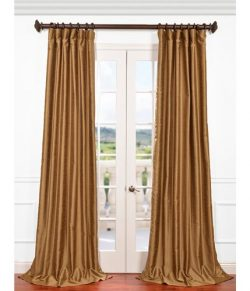 Half Price Drapes PDCH-HANB85-96 Yarn Dyed Faux Dupioni Silk Curtain, Empire Gold