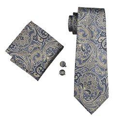 Hi-Tie Mens Silk Paisley Tie, Woven Silk Necktie Handkerchief Cufflinks set (Grey)