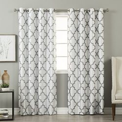Best Home Fashion Reverse Moroccan Faux Silk Blackout Curtain – Stainless Steel Nickel Grommet T ...