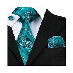 Barry.Wang Teal Ties for Men Set with Hanky Cufflinks Woven