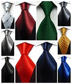 Wehug Lot 10 PCS Classic Men's tie 100% Silk Tie Woven Jacquard Neckties Solid Ties for me ...