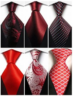 Wehug Lot 6 PCS Men's Classic Christmas Ties Silk Red Tie Woven Necktie Jacquard Neck Ties ...