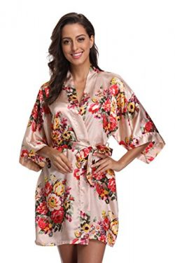 KimonoDeals Women's Satin Short Floral Kimono Robe For Wedding Party, Champagne XL
