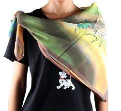 Jocelyn Nord Womens Genuine Silk Long Scarf 100% Mulberry Silk (Green conch)
