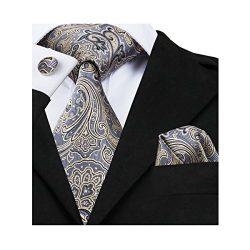 Barry.Wang Men's Tie Grey Silk Ties Pocket Square Cufflinks Set