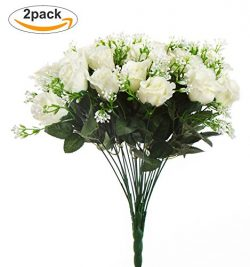 Artificial Flowers,Budding Joy 2pcs Fake Flowers Bouquet 24 Heads Silk Roses Bridal Home Garden  ...