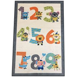 Silk & Sultans Agathe Collection Kids Numbers Design, Pet Friendly, Non-Slip Area Rug with R ...