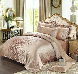 4 Piece Sateen Cotton Jacquard Duvet Cover Sets,Delicate Floral Pattern Bedding Sets,Duvet Cover ...