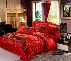 Jacquard Chinese Wedding Bedding Set Dragon Phoenix Bird Embroidery Lace Silk Duvet Cover Set 4p ...