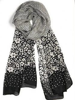 Z&HTrends Womens Genuine Silk Scarf (small, Black Dot Dot Flowers)