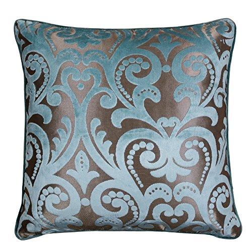 Throw Pillows Ralph Lauren : Homey Cozy Modern Velvet Throw Pillow Cover,Turquoise Green Luxury Elegant Floral Soft Fuzzy ...