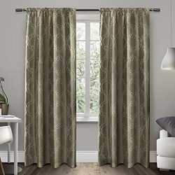Exclusive Home Curtains Como Rod Pocket Window Curtain Panel Pair, Stone, 54×84