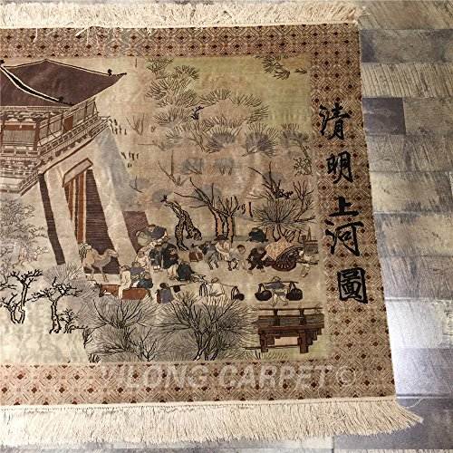 Yilong 800Lines Handmade Pure Silk Rugs Antique Along the River During the Qingming Festival Cla ...