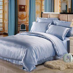 LILYSILK 19 Momme seamless 100% Mulberry Silk Bedding Sets 4pcs Light Blue King