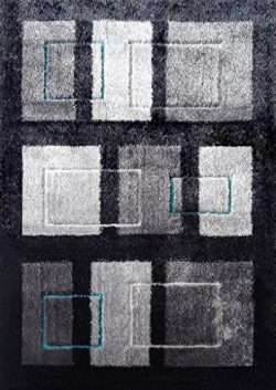Black Grey Turquoise Shag Area Rug Hand Tufted Made With Faux Silk Size 5'x7′ 5&#215 ...