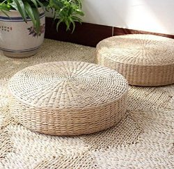 LB Japanese Style Handcrafted Eco-friendly Summer Breathable Padded Knitted Straw Flat Seat Cush ...