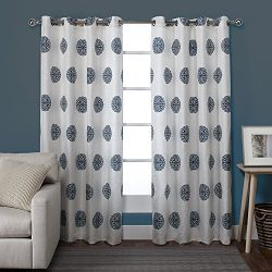 Exclusive Home Curtains Sedgewick Linen Grommet Top Window Curtain Panel Pair, Teal, 54×96