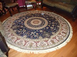 Luxury Large Round Rugs Silk Traditional Area Rugs Navy Circle Rugs Persian Area Rugs 8×8 C ...