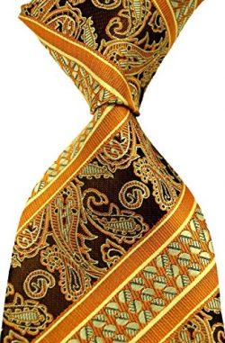 Scott Alone : New Classic Striped Paisley Jacquard Woven Silk Men's Tie Necktie (Gold)