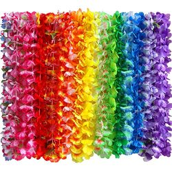 36 Counts Tropical Hawaiian Luau Flower Lei Party Favors (3 Dozen) Silk Flower Leis Bracelets Craft