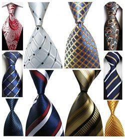 Wehug Lot 10 PCS Men's Ties 100% Silk Tie Woven Slim Necktie Jacquard Neck Ties Classic Ti ...