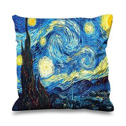 Van Gogh Starry Night Faux Silk 45cm x 45cm Sofa Cushion