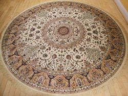 Stunning Silk Rug Persian Traditional Area Rugs Round Shape Living Room Ivory Rugs Luxury 8 Foot ...