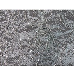 Silver Gray Beaded Embroidered Paisley Silk Taffeta Decorative Fabric-by-Yard